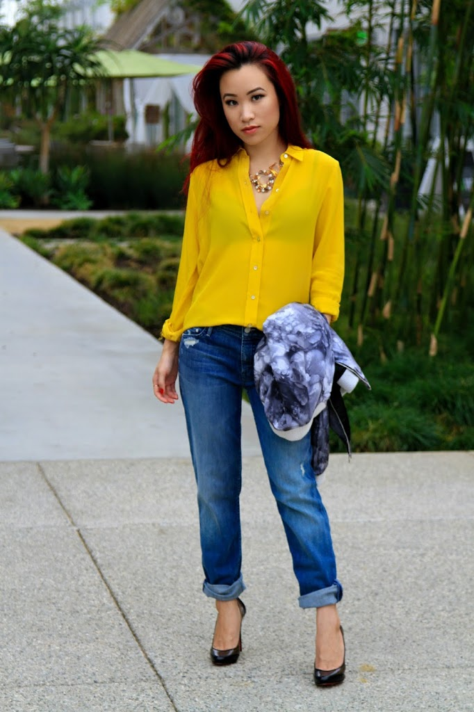 Mustard Silk Shirt with Jeans