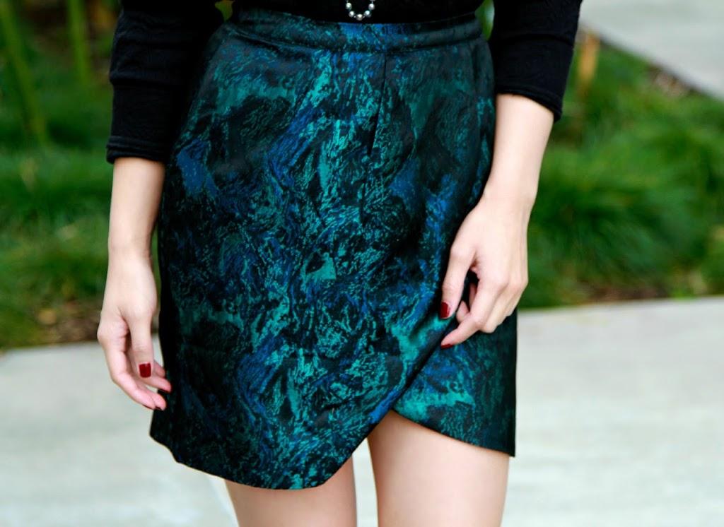 brocade asymmetrical skirt